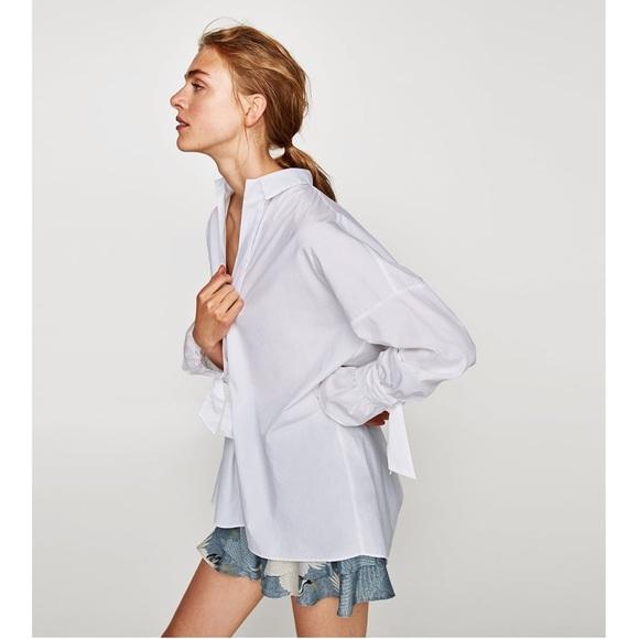 eee250de3ffe2 Zara Poplin shirt with bow